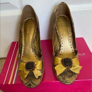 BCBGirls Gold Brocade & Satin Bow Heels, Size 6.5